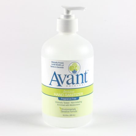 Avant Original Fragrance Free Hand Sanitizer 16.9 oz Pump Bottles-Case of 12